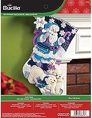 Bucilla 18-Inch Christmas Stocking Felt Applique Kit, 86653 Arctic Santa