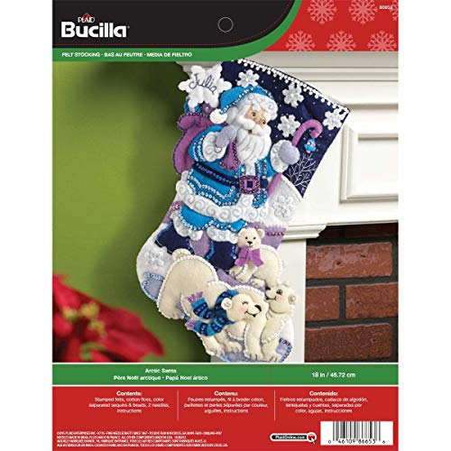 - Bucilla 18-Inch Christmas Stocking Felt Applique Kit, 86653 Arctic Santa