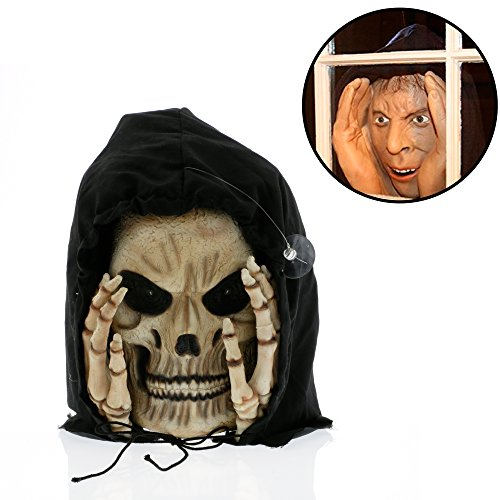 Halloween Decoration - Scary Peeper - Reaper Peeper - The True-to-Life Light-up Window Prop that will scare your socks off
