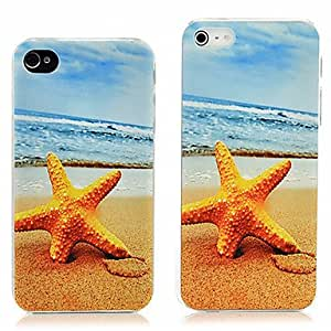 Rubberized Hard Design Starfish Skin Case Cover For iPhone 4/4S