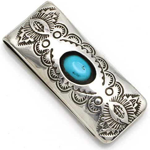 Stamped Turquoise Money Clip by Skeets