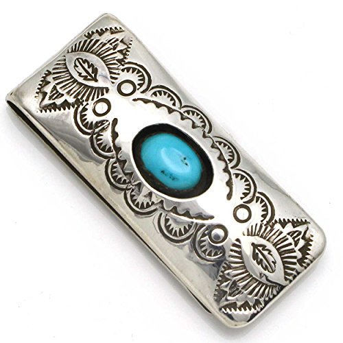 Stamped Turquoise Money Clip by Skeets (Money Clip Medallion Silver)
