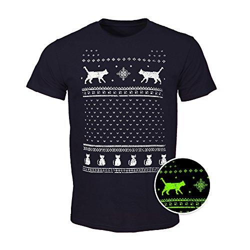 Herren Leuchtet im Dunkeln Katzen Weihnachts-T-Shirt - Dunkelblau