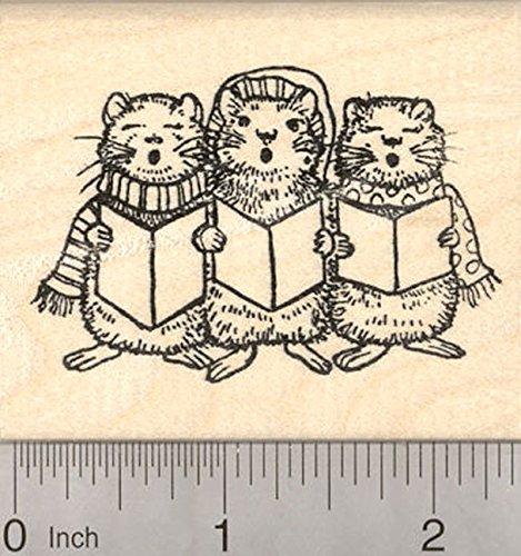 Christmas Caroling Hamster Rubber Stamp