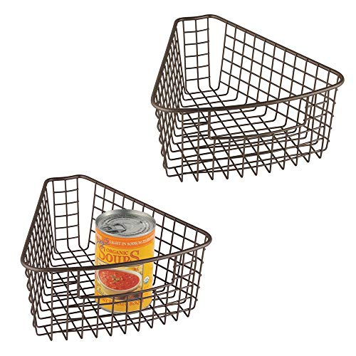 mDesign Farmhouse Metal Kitchen Cabinet Lazy Susan Storage Organizer Basket with Front Handle - Small Pie-Shaped 1/8 Wedge, 4.2