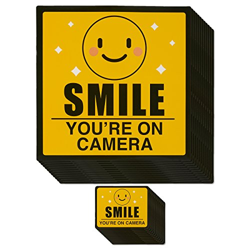 Best Paper Greetings Security Camera Stickers - 12-Pack Video Surveillance Sings, Smile You're On Camera Warning Stickers for Home and Business Security Camera, Yellow, 2 Sizes