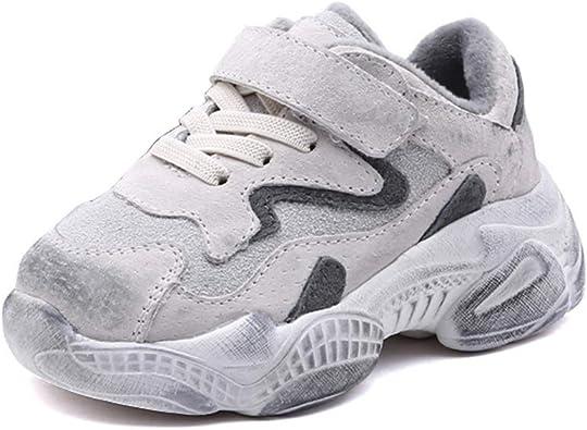 Zapatillas de Deporte de Invierno para niños Zapatillas para Correr con Velcro Suela Gruesa Moda Negro Blanco Zapatos para niñas Calzado de algodón cálido: Amazon.es: Zapatos y complementos