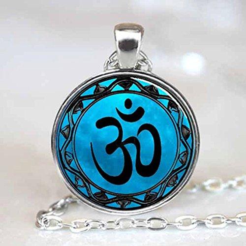 Namaste Pendant , Om Necklace , Namaste Yoga , Zen Pendant , Om Pendant Charm Silver (1)