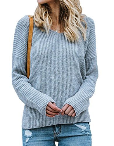 Col Pulls Femmes Automne Sweat Manches Hauts Jumper Hiver Pullover Irrgulier Sweater Chemisier Mode Rond Tricots Shirts Chandail Bleu Blouse Clair Longues Tops Dos Casual Nu wIz4qz