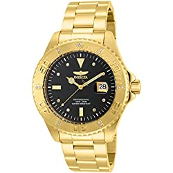 """Invicta Men's 15286 """"Pro Diver"""" 18k Yellow Gold Ion-Plated Stainless Steel and Diamond Accent Watch"""
