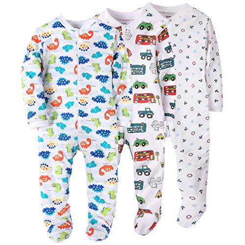 Cotton Sleeper Pajamas - 3 Pack Dinosaurs Baby Boys Footed Pajama Cotton Zip Front Sleep and Play Sleeper 12 Months