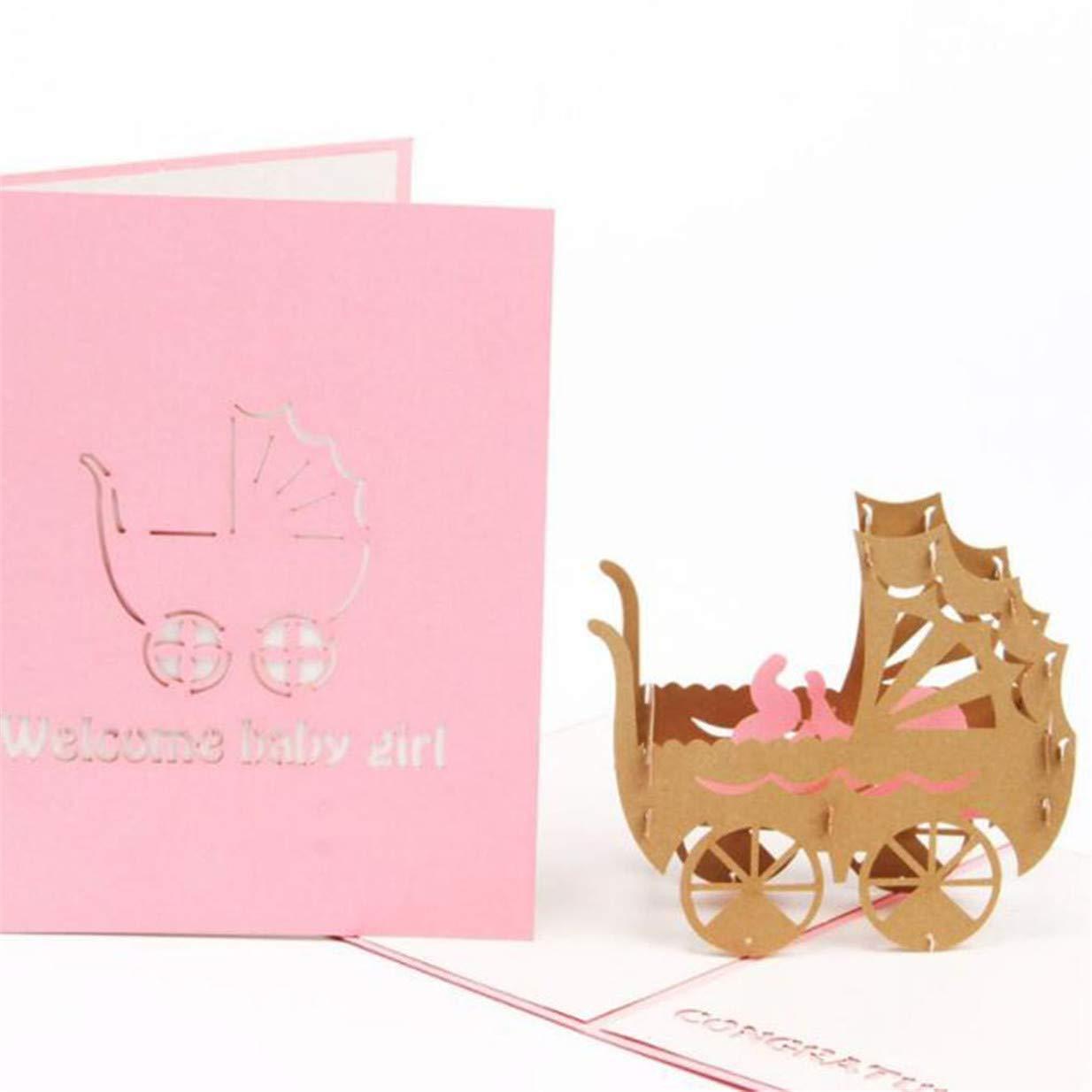 Durable Creative 3D Stroller Handmade Art Baby Birthday Greeting CardPink Xeminor