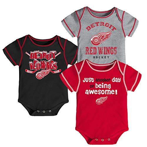 Outerstuff NHL Newborn Infants Awesome Player 3 Piece Creeper Bodysuit Set (6/9 Months, Detroit Red Wings)