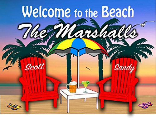 (Anchor Graphix Personalized Beach Sign/Welcome to The Beach Sign -Personalize with Last Name First Name/Camping/Beach/Lake)
