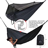 Double Hammock - Everest | Bug & Mosquito Free Camping and Outdoors Hammock Tent Built-in Reversible Net YKK Zipper Ripstop Nylon Ultralight Carabiners & Tree Saver Straps Navy / Charcoal / Net Black