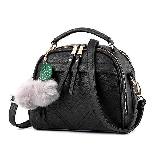 Pure Femmes Bandoulière Couleur Pour Élégant Vintage Main Noir Sac Cuir PU Noir Sacs Épaule épaule à Sacs portés qRH84wnU
