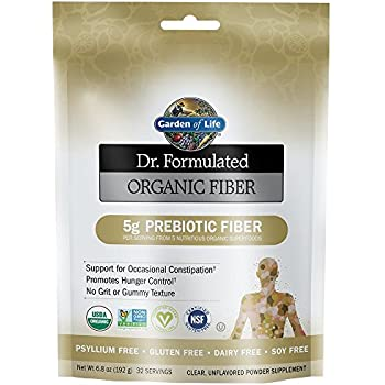 Garden of Life Dr. Formulated Organic Prebiotic Superfood Fiber Supplement for Constipation Relief and Hunger Control, Vegan, Unflavored, 6.8oz (192g) Powder