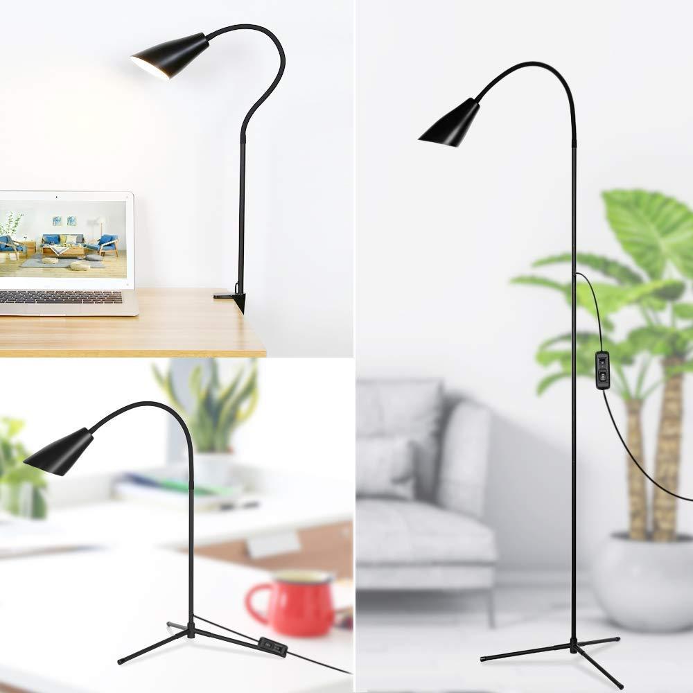 Stehlampe Bodenlampe Dimmbare LED Moderne Stehlampe Schwarz Flexibles Schwanenhals-stehendes Leselicht mit Stabiler Basis, doppelte Farbtemperatur-stehende Leselampe für Wohnzimmer, Büro Schlafzimmer
