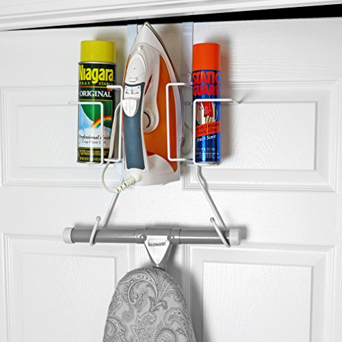 Evelots Ironing Board Holder-Over Door/No Tool or Wall Mount-Iron/Bottle Baskets ()