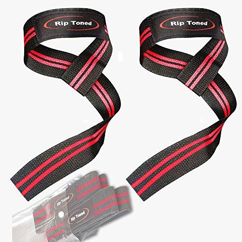 Sangle de tirage avec livre électronique (paire) - Rembourrée en coton - Pour soulever des poids, pour la musculation, le crossfit, le renforcement musculaire, etc. - Rip Toned