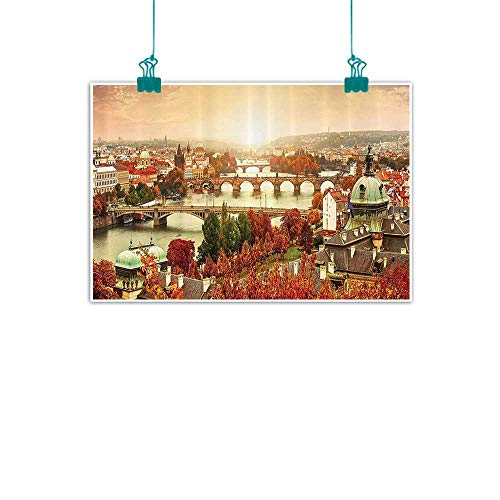 Wanderlust Decor Collection Chinese classical oil painting Sunset View to Charles Bridge on Vltava River and Colorful Tree Leaves Image for Living Room Bedroom Hallway Office 47