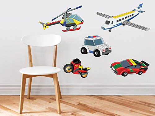 Helicopter Block - Building Block Transportation Set - Set Of 5 - Plane, Race Car, Helicopter, Motorcycle, Police Car - Removable, Reusable, Respositionable