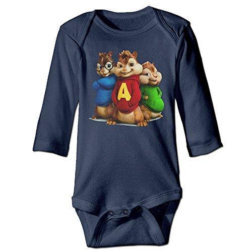 [NINJOE NewBorn Boy's & Girl's Alvin Film Series A Logo Long Sleeve Bodysuit Baby Onesie Navy 6 M] (Infant Sylvester Costumes)