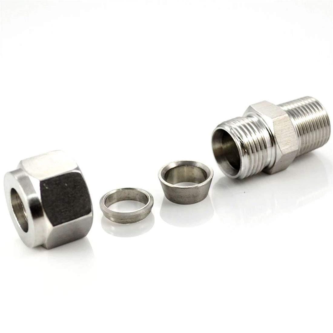 NPT3//8 macho x 10 tubo OD con casquillos dobles 3 piezas Sourcingmap Tubo de compresi/ón adaptador