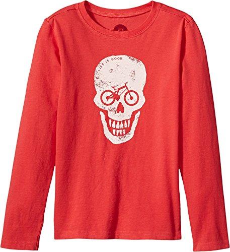 Life is good Boy's B Long Sleeve Boys Tee Bike Skull Lig Amrred T-Shirt, Americana Red, (Bike Cotton Shirt)