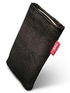 FitBAG Black Techno-Funda con pestaña para Samsung E2120. Tejido de calidad con forro de microfibra para limpieza de pantalla