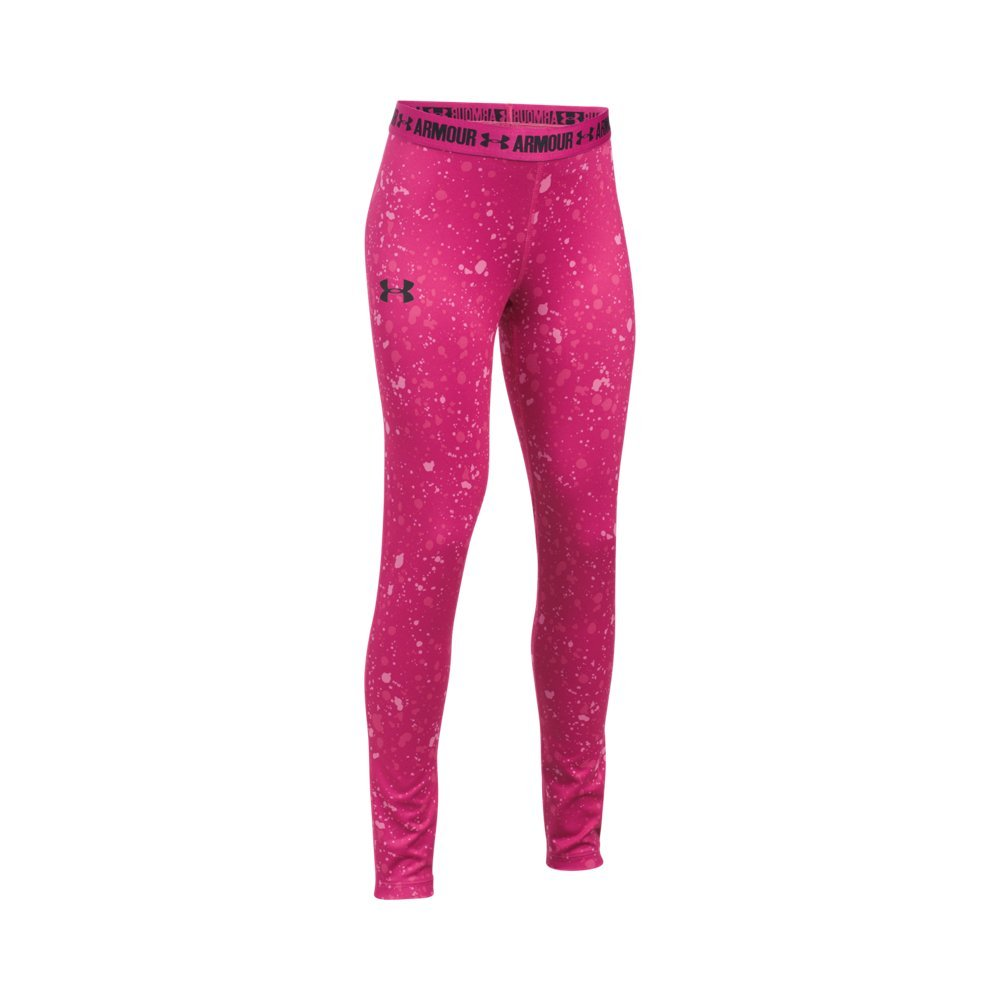 Under Armour Girls' HeatGear Armour Printed Legging, Tropic Pink /Black, Youth Small