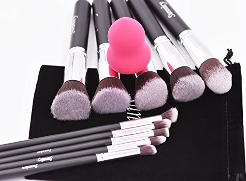 Makeup Brushes Beauty Sponge Blender 10 Pcs Kabuki Powder Foundation Blending Blush Eyeliner Concealer Brush Set Cosmetic Tools (Silver + Black)