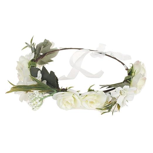 Amazon.com  Meiyuan Bride Flower Crown Wedding Festival Headband Hairband Floral  Garland Headpiece  Clothing a051af8915a