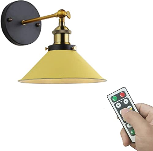 ANYE 1-Pack 55 Lumens Led Remote Control Battery Run Cordless Lamp Macaron Yellow Wall Sconce Light Fixture