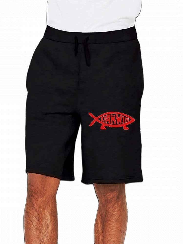 JiJingHeWang Darwin Fish Mens Casual Shorts Pants