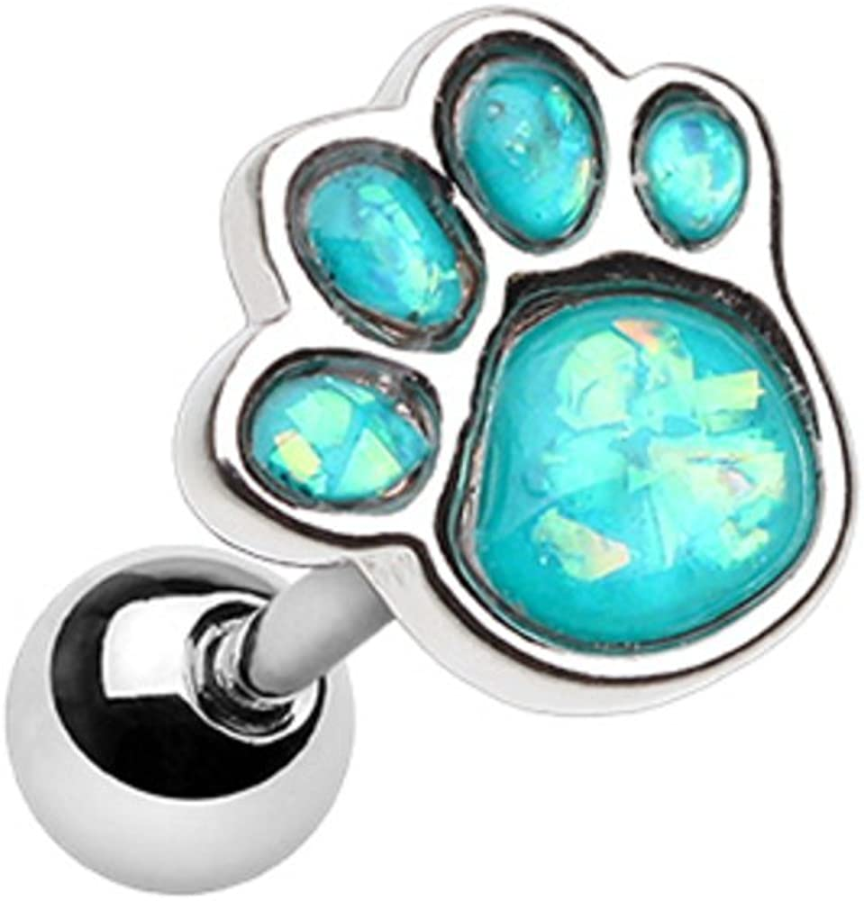 Inspiration Dezigns 18G 6mm Ear Cartilage Earring Animal Lover Opal Paw Print