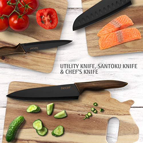 Hecef Kitchen Knife Set,Stainless Steel Super Sharp Blade Chef Knife Set with Food Grade Black Color Coating,Includes Chef,Bread,Santoku,Utility and Paring Knife with Matching Blade Guards