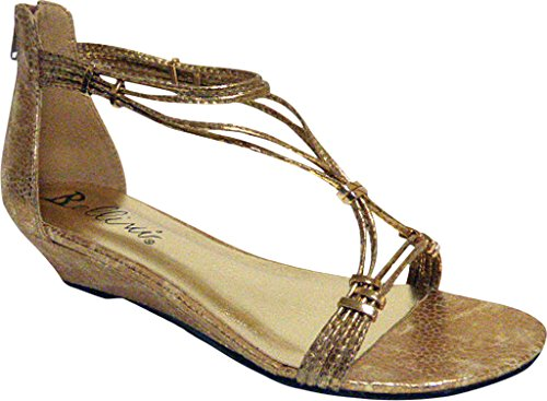 Sandalo Con Zeppa Flip Sandalo Oro Donna Bellini