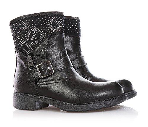 NERO GIARDINI - Botte noire, en cuir, glissière latérale, boucle  décorative,strass ... 70a2672ccf9a