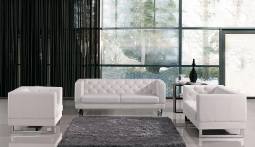 Limari Home Gemma Collection Modern 3 Piece Living Room Tufted Eco-Leather Sofa Set, White