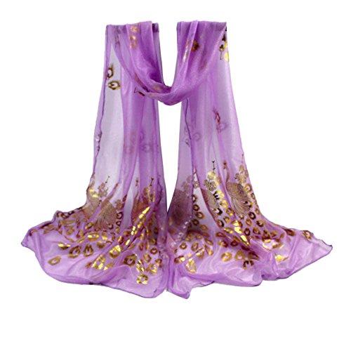 Pumsun_Clothing Accessories Pumsun Women Lady Multi-Color Peacock Flower Scarf Long Soft Wrap Shawl Stole Pashmina (Purple)
