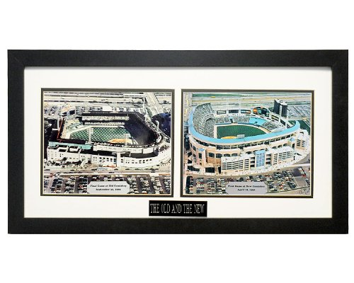 Old Comiskey Park During Final Game Sept. 30, 1990 & the New Comiskey Park During Opening Day on April 18, 1991. Professionally Matted an Framed (2) 8x10 Photo's to an 12x24 (Park Old Comiskey)