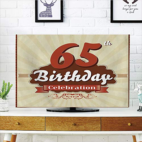 Multi Style,65th Birthday Decorations,Retro Style Celebration Card Inspired Floral Details,Eggshell Brown Bur dy,Customizable Design Compatible 42