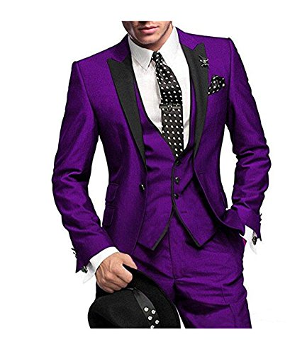 Lapel Tuxedo Suit (One Button 3 Pieces Purple Wedding Suits Notch Lapel Men Suits Groom Tuxedos Purple 38 chest / 32 waist)