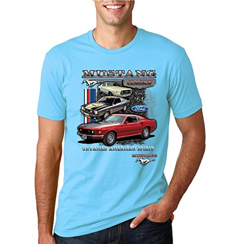 Ford Mustang Classics Untamed American Spirit | Mens Planes/Trains/Automobiles Tee Graphic T-Shirt, Light Turquoise, Large