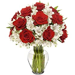 Benchmark Bouquets Classic Roses and Alstroemeria, for Valentine's Day With Vase