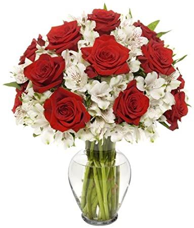 Amazon Benchmark Bouquets Classic Roses And Alstroemeria With