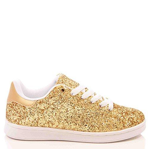 De mujer purpurina dorada zapatillas con cordones planos casual zapatillas - mujer, Dorado, 41 EU: Amazon.es: Zapatos y complementos