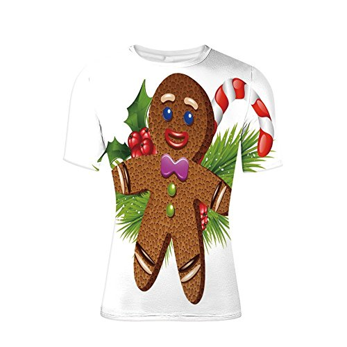 (Tee Shirts Tops,Pastry on Coniferous Branches Candy Cane and Holly,Mens 3D Print)