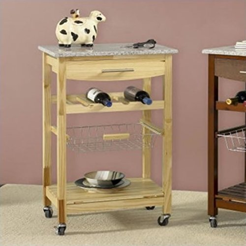Granite Top Natural Kitchen Island Cart with 4-Bottle Wine Storage Rack - Compact Laundry Stacking Kit
